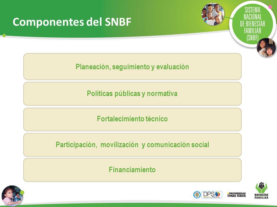Planeación, seguimiento y evaluación Políticas públicas y normativa Fortalecimiento técnico Participación, movilización y comunicación social Financia