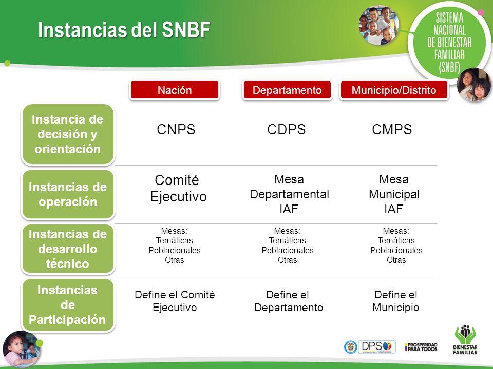 Instancias del SNBF Instancia de decisión y orientación Instancias de operación Instancias de desarrollo técnico Instancias de Participación Nación De