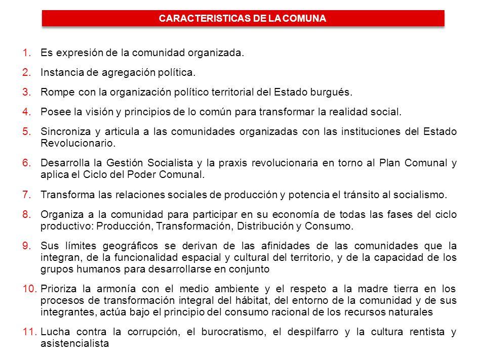 1.Es expresión de la comunidad organizada.2.Instancia de agregación política.