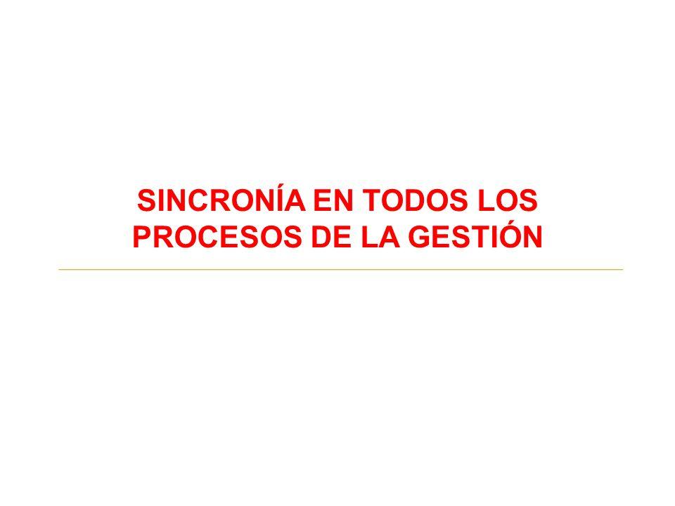 SINCRONÍA EN TODOS LOS PROCESOS DE LA GESTIÓN