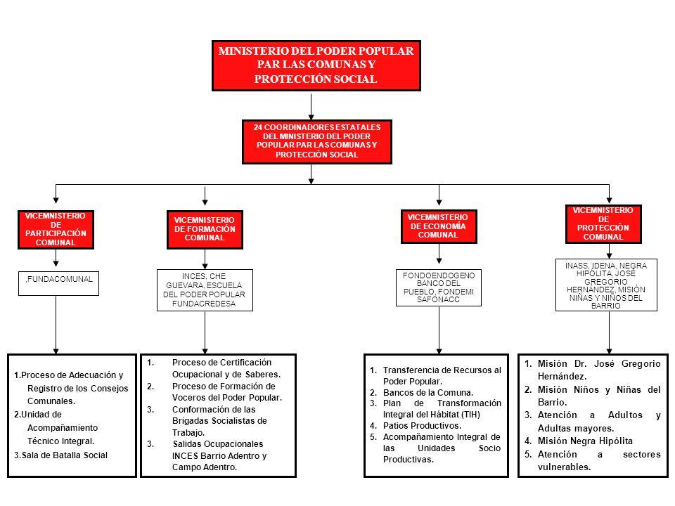 MINISTERIO DEL PODER POPULAR PAR LAS COMUNAS Y PROTECCIÓN SOCIAL VICEMNISTERIO DE PARTICIPACIÓN COMUNAL VICEMNISTERIO DE FORMACIÓN COMUNAL VICEMNISTERIO DE ECONOMÍA COMUNAL VICEMNISTERIO DE PROTECCIÓN COMUNAL 24 COORDINADORES ESTATALES DEL MINISTERIO DEL PODER POPULAR PAR LAS COMUNAS Y PROTECCIÓN SOCIAL 1.Proceso de Adecuación y Registro de los Consejos Comunales.