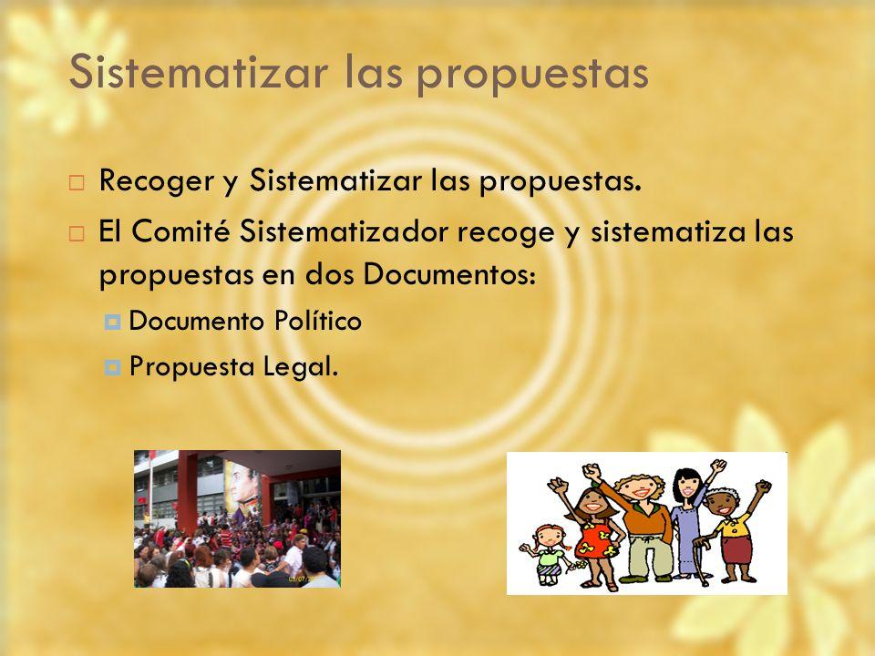 Sistematizar las propuestas Recoger y Sistematizar las propuestas. El Comité Sistematizador recoge y sistematiza las propuestas en dos Documentos: Doc
