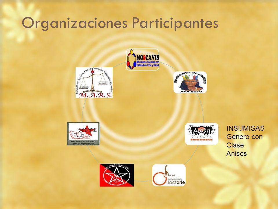 Organizaciones Participantes Araña Feminista Lactarte Genero con Clase Insumisas INSUMISAS Genero con Clase Anisos