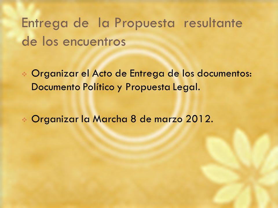 Entrega de la Propuesta resultante de los encuentros Organizar el Acto de Entrega de los documentos: Documento Político y Propuesta Legal. Organizar l