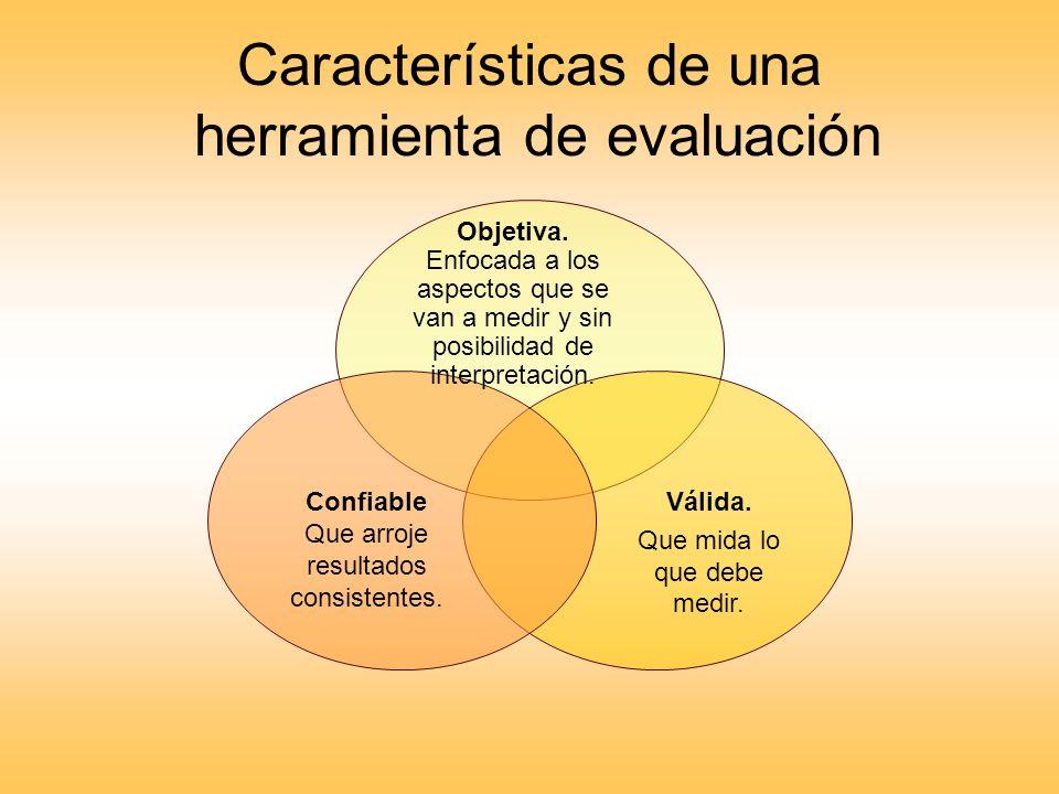 Características de una herramienta de evaluación Objetiva. Enfocada a los aspectos que se van a medir y sin posibilidad de interpretación. Válida. Que