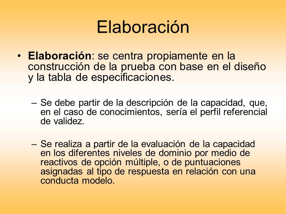 Elaboración Elaboración: se centra propiamente en la construcción de la prueba con base en el diseño y la tabla de especificaciones. –Se debe partir d