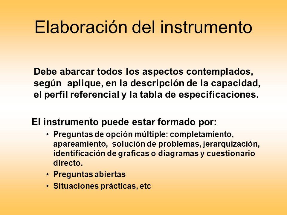 Elaboración del instrumento Debe abarcar todos los aspectos contemplados, según aplique, en la descripción de la capacidad, el perfil referencial y la