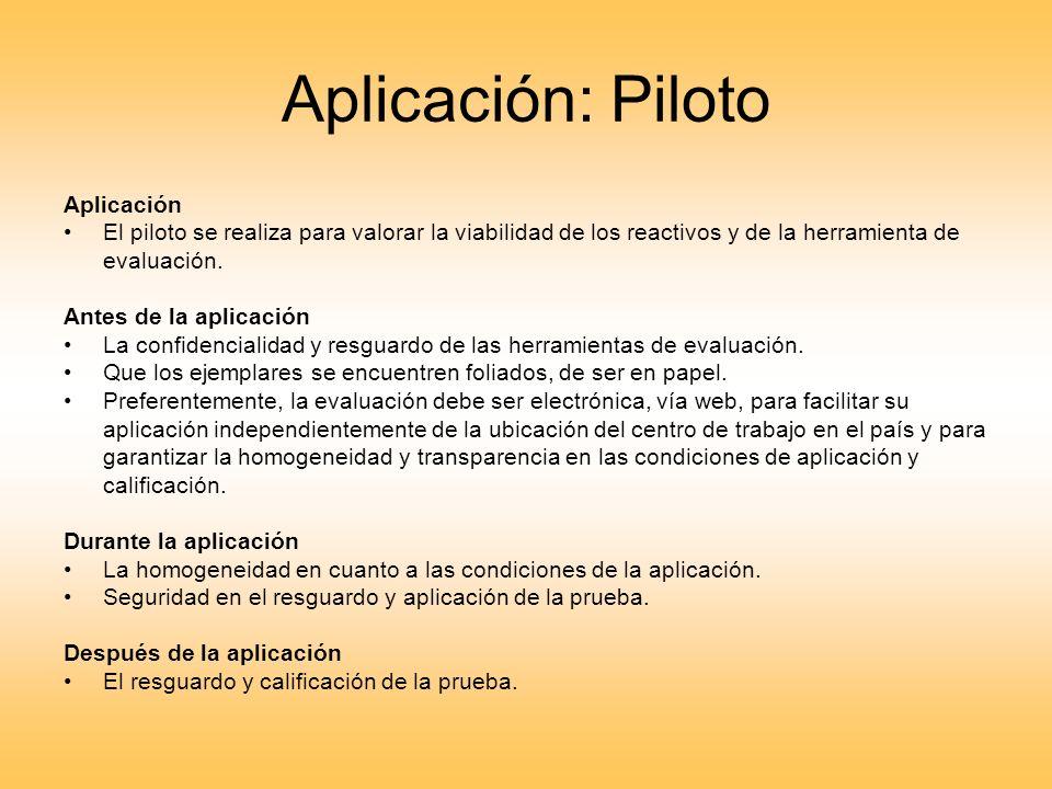 Aplicación: Piloto Aplicación El piloto se realiza para valorar la viabilidad de los reactivos y de la herramienta de evaluación. Antes de la aplicaci