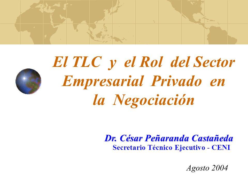 El TLC y el Rol del Sector Empresarial Privado en la Negociación Agosto 2004 Dr.