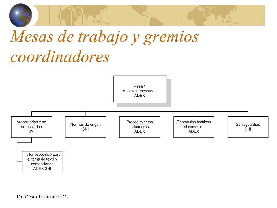 Mesas de trabajo y gremios coordinadores Dr. César Peñaranda C.