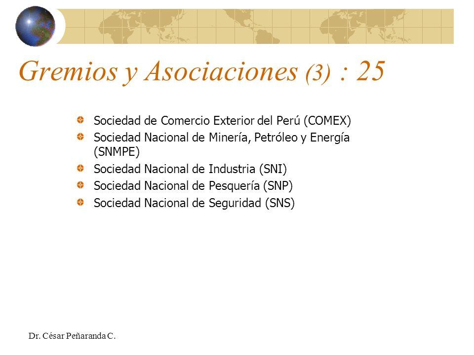 Sociedad de Comercio Exterior del Perú (COMEX) Sociedad Nacional de Minería, Petróleo y Energía (SNMPE) Sociedad Nacional de Industria (SNI) Sociedad Nacional de Pesquería (SNP) Sociedad Nacional de Seguridad (SNS) Gremios y Asociaciones (3) : 25 Dr.