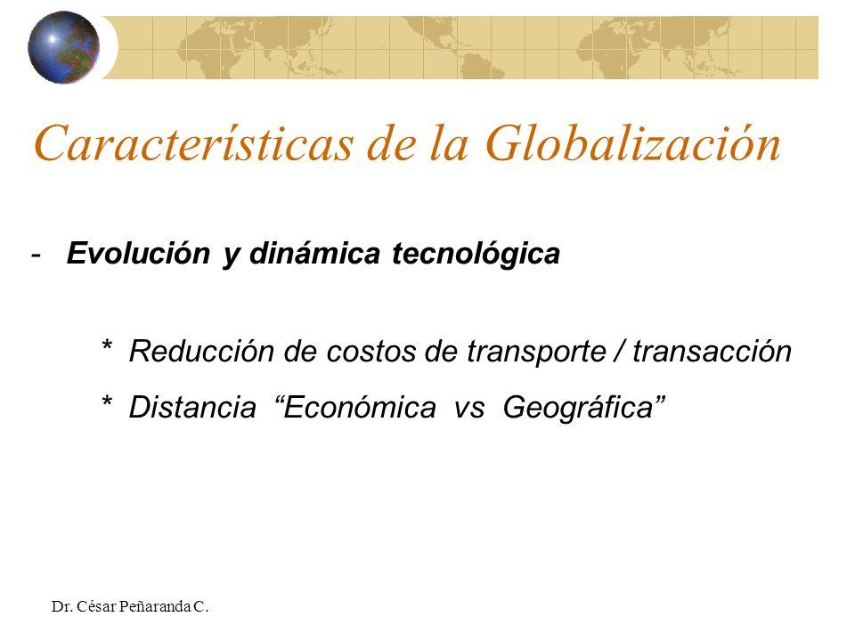 - Evolución y dinámica tecnológica * Reducción de costos de transporte / transacción * Distancia Económica vs Geográfica Características de la Globalización Dr.