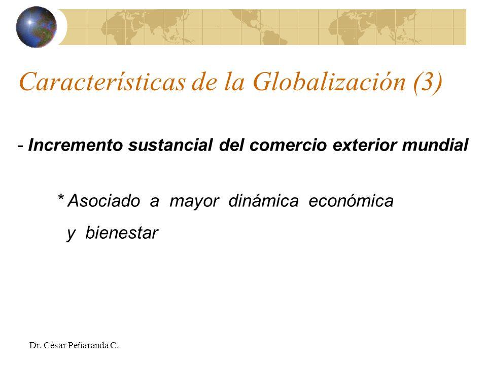 - Incremento sustancial del comercio exterior mundial * Asociado a mayor dinámica económica y bienestar Características de la Globalización (3) Dr.