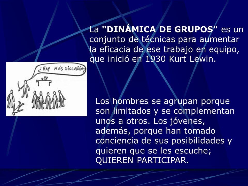 La DINÁMICA DE GRUPOS es un conjunto de técnicas para aumentar la eficacia de ese trabajo en equipo, que inició en 1930 Kurt Lewin.