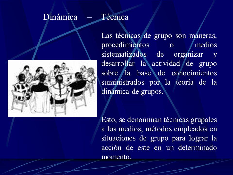 Las técnicas de grupo son maneras, procedimientos o medios sistematizados de organizar y desarrollar la actividad de grupo sobre la base de conocimien