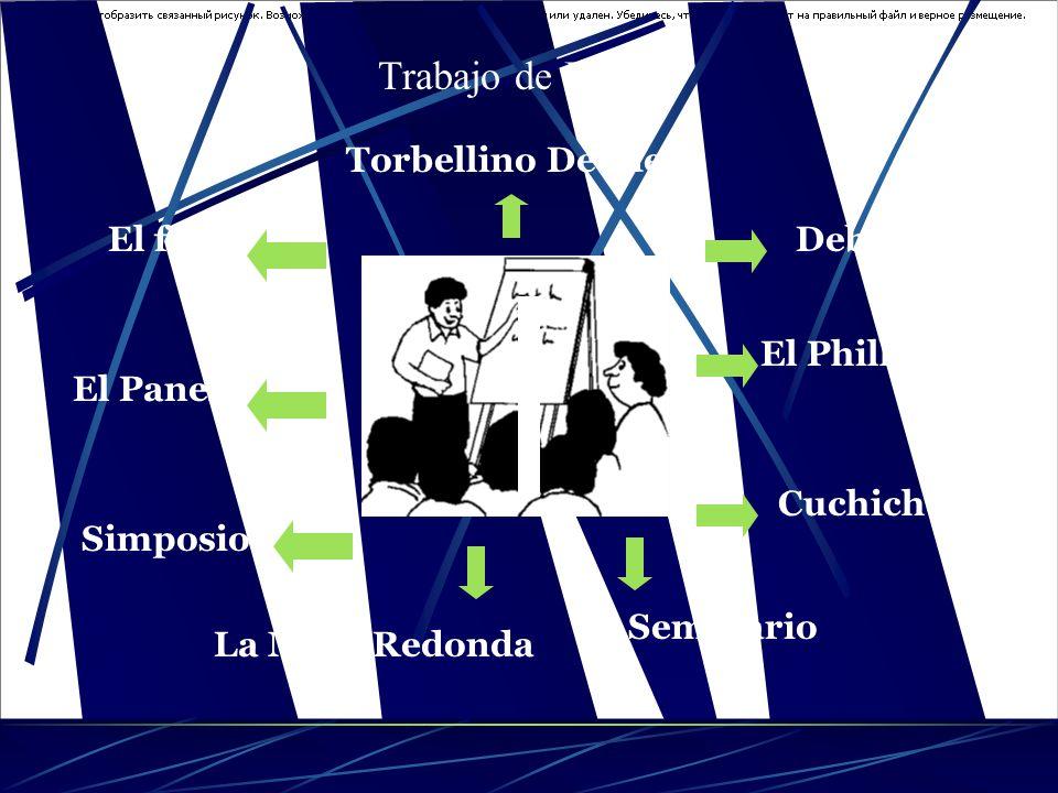 Trabajo de Equipo El foroEl foro El foroEl foro El foro La Mesa Redonda El Panel Debate El Phillips 66 Cuchicheo Seminario Torbellino De Ideas Simposi