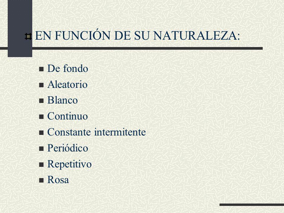 EN FUNCIÓN DE SU NATURALEZA: De fondo Aleatorio Blanco Continuo Constante intermitente Periódico Repetitivo Rosa