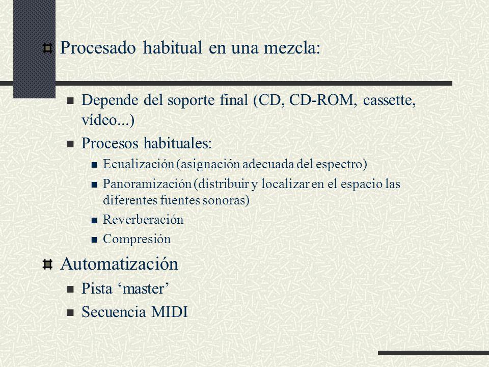 Procesado habitual en una mezcla: Depende del soporte final (CD, CD-ROM, cassette, vídeo...) Procesos habituales: Ecualización (asignación adecuada de