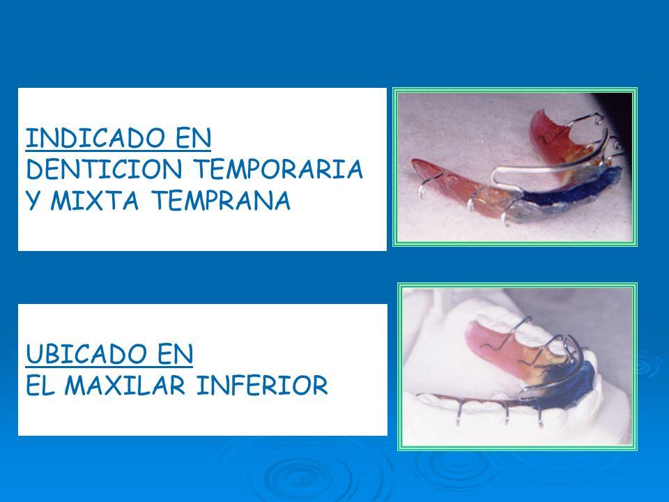 INDICADO EN DENTICION TEMPORARIA Y MIXTA TEMPRANA UBICADO EN EL MAXILAR INFERIOR