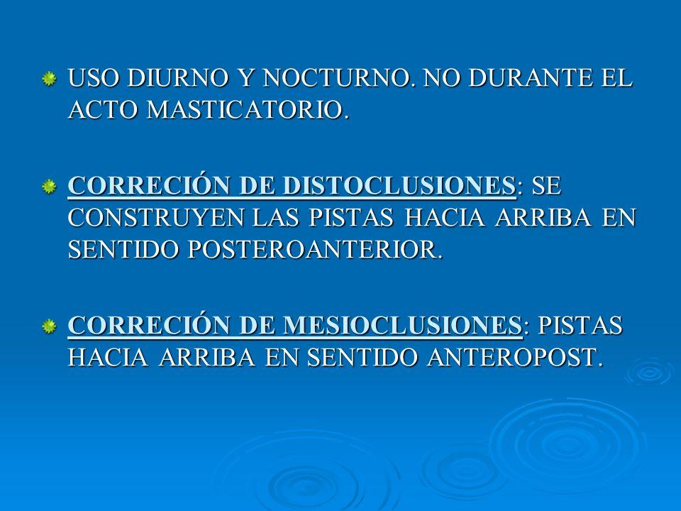 USO DIURNO Y NOCTURNO. NO DURANTE EL ACTO MASTICATORIO. CORRECIÓN DE DISTOCLUSIONES: SE CONSTRUYEN LAS PISTAS HACIA ARRIBA EN SENTIDO POSTEROANTERIOR.