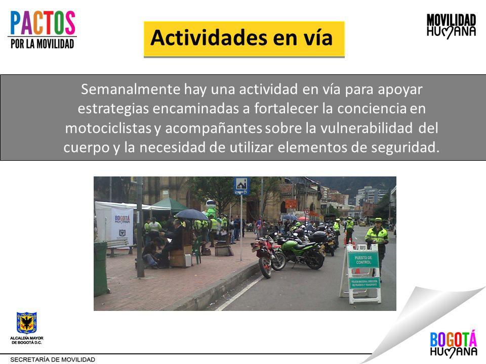 Actividades en vía Semanalmente hay una actividad en vía para apoyar estrategias encaminadas a fortalecer la conciencia en motociclistas y acompañante