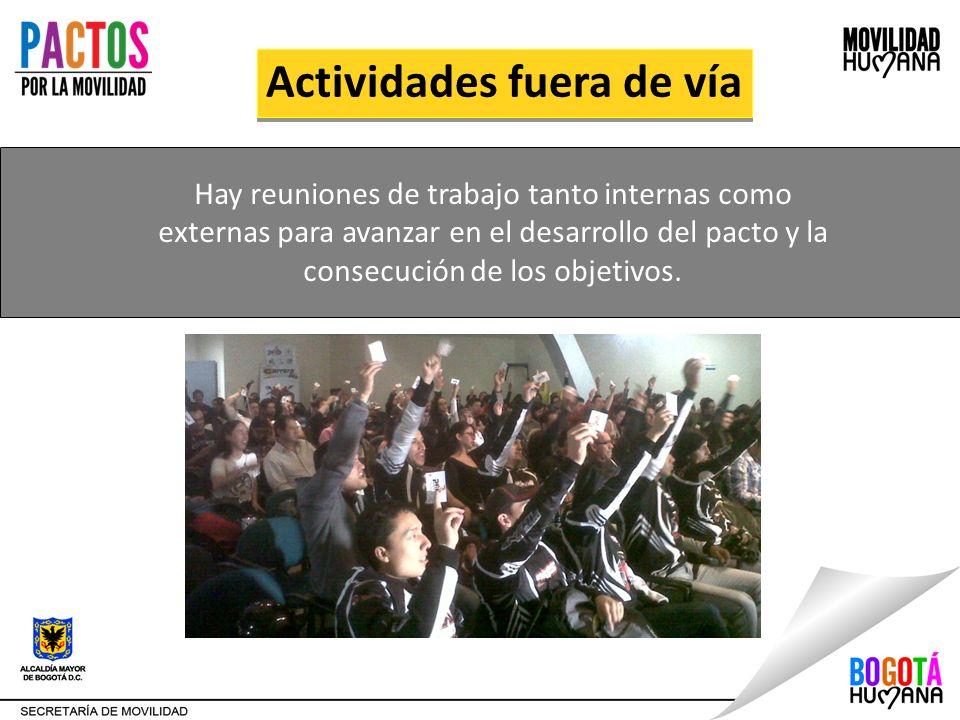 Actividades fuera de vía Hay reuniones de trabajo tanto internas como externas para avanzar en el desarrollo del pacto y la consecución de los objetiv