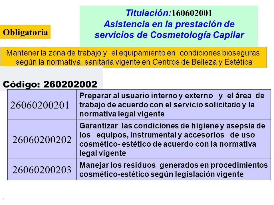 . Titulación: 160602001 Asistencia en la prestación de servicios de Cosmetología Capilar Mantener la zona de trabajo y el equipamiento en condiciones