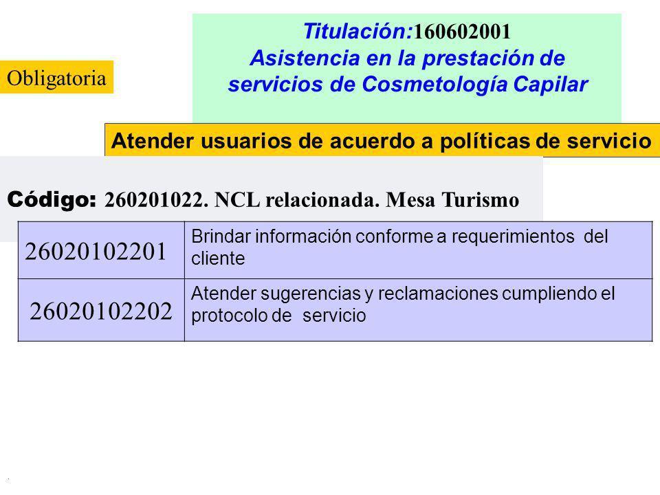 . Titulación: 160602001 Asistencia en la prestación de servicios de Cosmetología Capilar Atender usuarios de acuerdo a políticas de servicio Código: 2