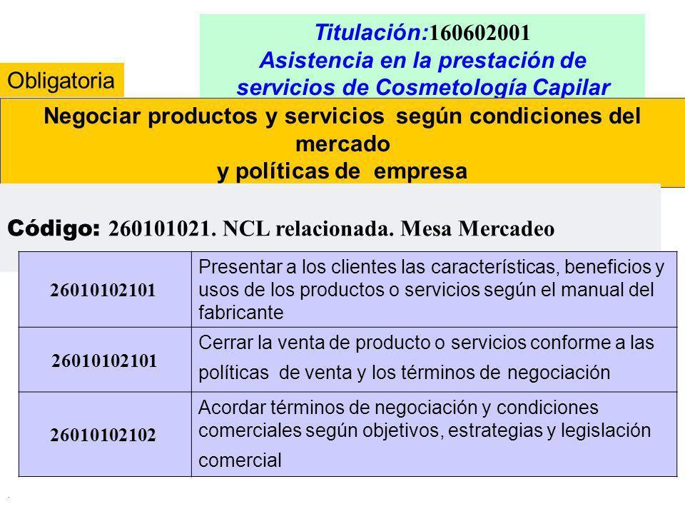. Titulación: 160602001 Asistencia en la prestación de servicios de Cosmetología Capilar Negociar productos y servicios según condiciones del mercado