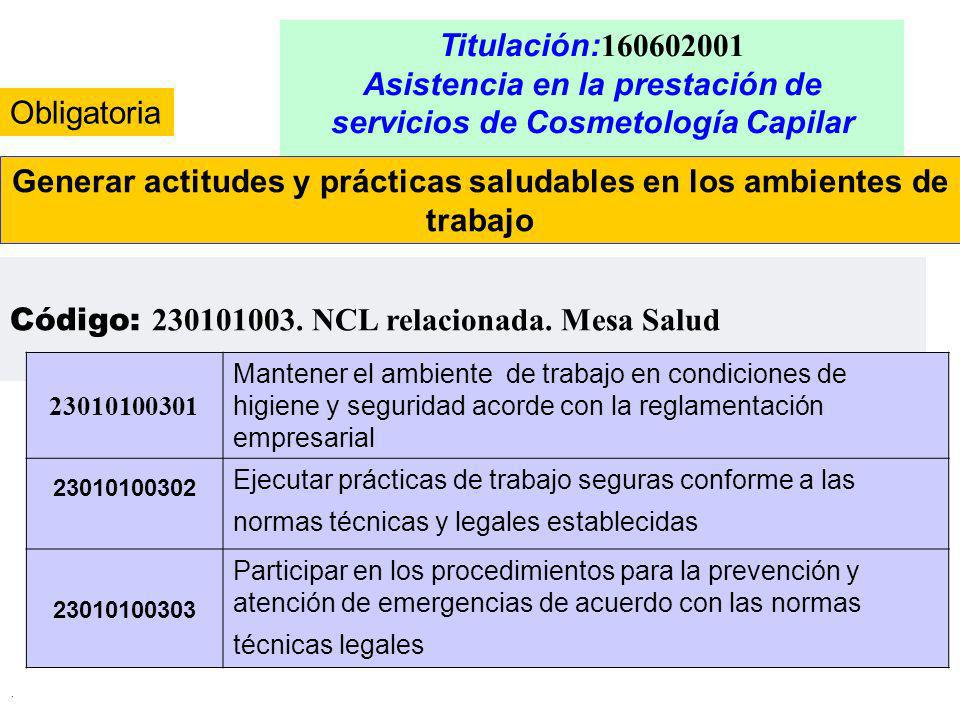 . Titulación: 160602001 Asistencia en la prestación de servicios de Cosmetología Capilar Generar actitudes y prácticas saludables en los ambientes de