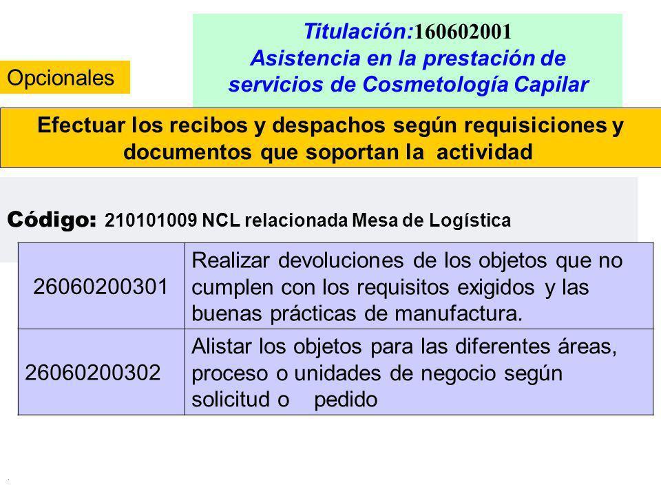 . Titulación: 160602001 Asistencia en la prestación de servicios de Cosmetología Capilar Efectuar los recibos y despachos según requisiciones y docume