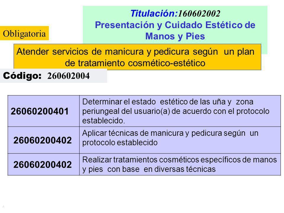 . Titulación: 160602002 Presentación y Cuidado Estético de Manos y Pies Atender servicios de manicura y pedicura según un plan de tratamiento cosmétic