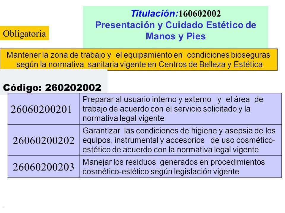 . Titulación: 160602002 Presentación y Cuidado Estético de Manos y Pies Mantener la zona de trabajo y el equipamiento en condiciones bioseguras según