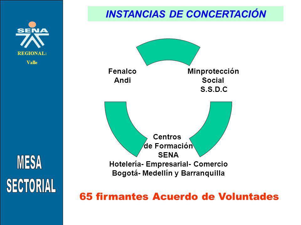 . INSTANCIAS DE CONCERTACIÓN METODOLOGO: JESUS RAMIRO CACERES N. REGIONAL: Valle Minprotección Social S.S.D.C Centros de Formación SENA Hotelería- Emp