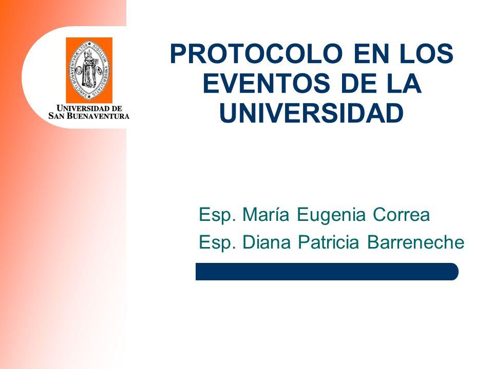 PROTOCOLO EN LOS EVENTOS DE LA UNIVERSIDAD Esp. María Eugenia Correa Esp. Diana Patricia Barreneche