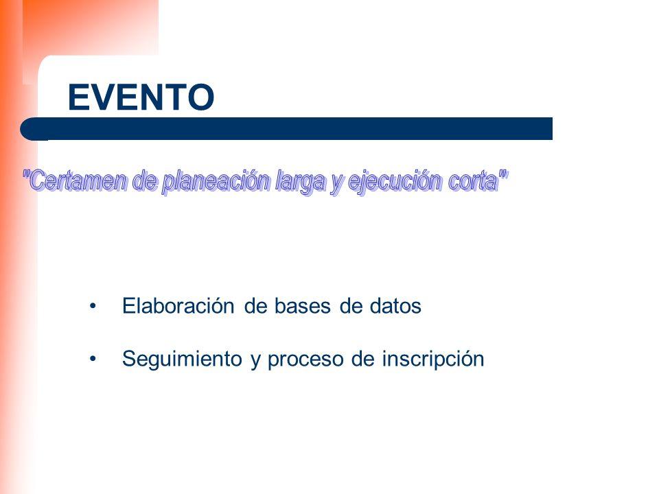 EVENTO Elaboración de bases de datos Seguimiento y proceso de inscripción