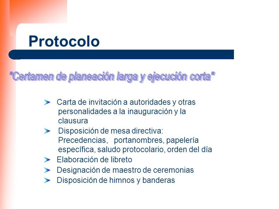 Protocolo Carta de invitación a autoridades y otras personalidades a la inauguración y la clausura Disposición de mesa directiva: Precedencias, portan