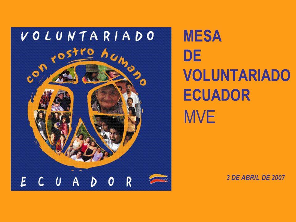 MESA DE VOLUNTARIADO ECUADOR 3 DE ABRIL DE 2007 MVE