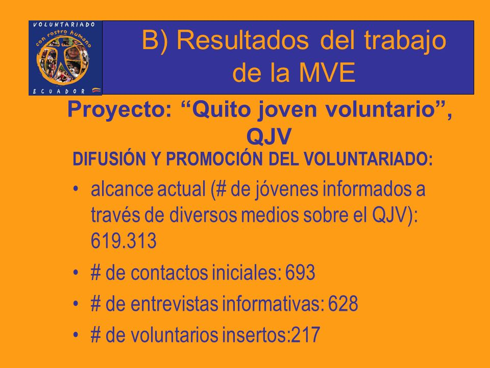 B) Resultados del trabajo de la MVE Proyecto: Quito joven voluntario, QJV DIFUSIÓN Y PROMOCIÓN DEL VOLUNTARIADO: alcance actual (# de jóvenes informados a través de diversos medios sobre el QJV): 619.313 # de contactos iniciales: 693 # de entrevistas informativas: 628 # de voluntarios insertos:217