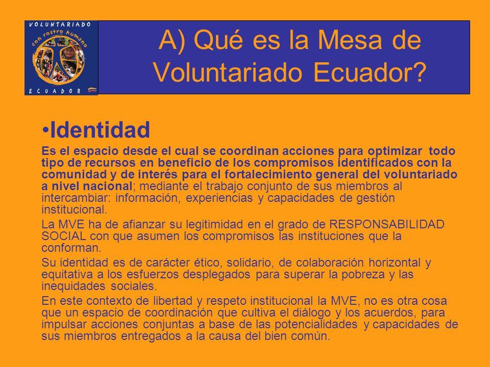 Objetivos: 1.Fortalecer el voluntariado en el Ecuador 2.Promover la participación de nuevos actores al trabajo voluntario 3.Fomentar la capacitación y el reconocimiento del trabajo voluntario a nivel nacional A) Qué es la Mesa de Voluntariado Ecuador?