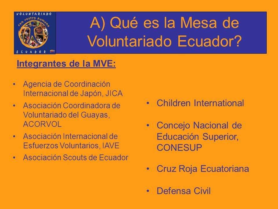 Integrantes de la MVE: Agencia de Coordinación Internacional de Japón, JICA Asociación Coordinadora de Voluntariado del Guayas, ACORVOL Asociación Internacional de Esfuerzos Voluntarios, IAVE Asociación Scouts de Ecuador A) Qué es la Mesa de Voluntariado Ecuador.
