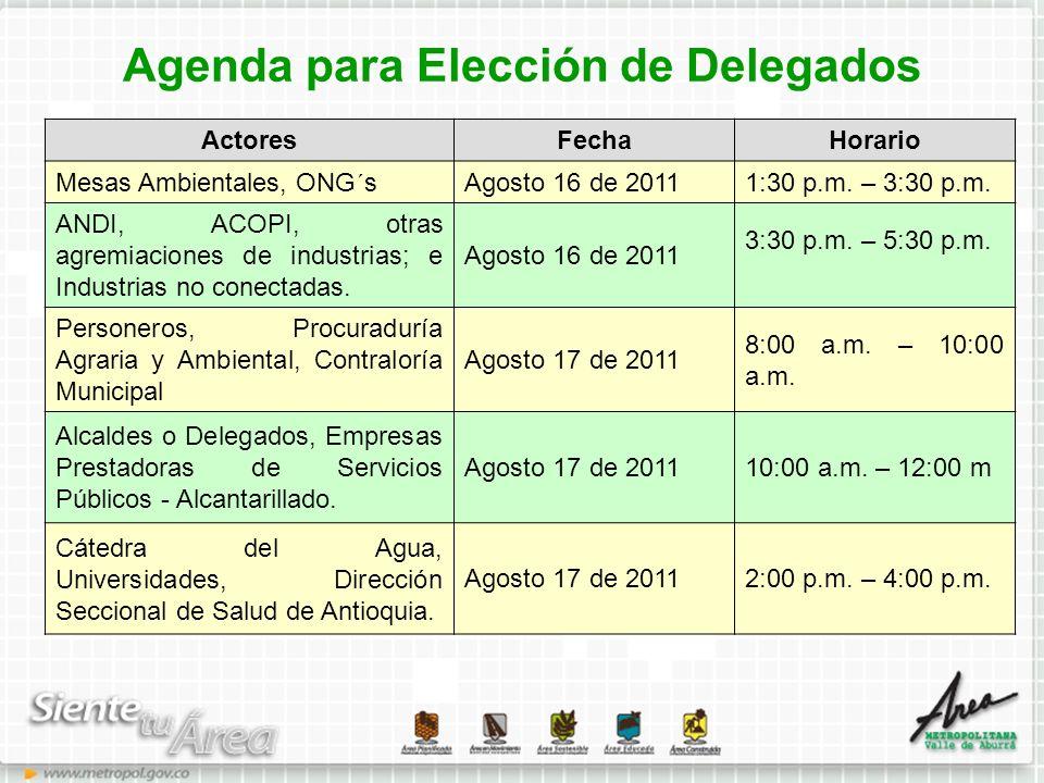 Agenda para Elección de Delegados ActoresFechaHorario Mesas Ambientales, ONG´sAgosto 16 de 20111:30 p.m. – 3:30 p.m. ANDI, ACOPI, otras agremiaciones