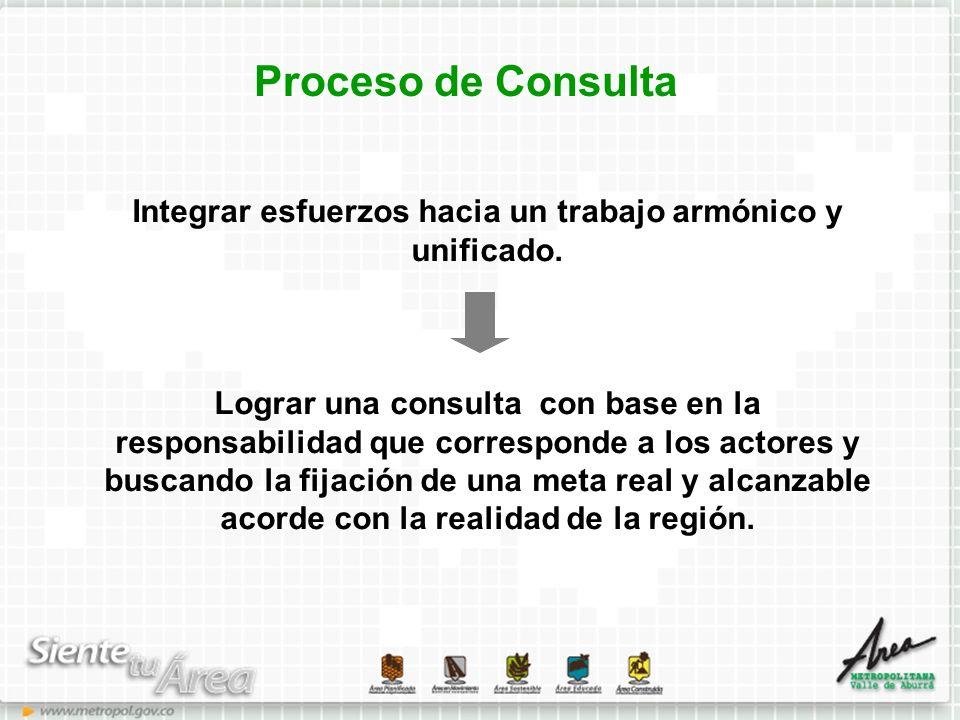 Proceso de Consulta Integrar esfuerzos hacia un trabajo armónico y unificado. Lograr una consulta con base en la responsabilidad que corresponde a los