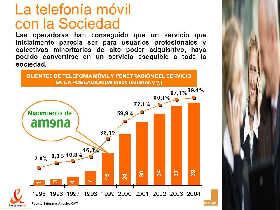 10 La telefonía móvil con la Sociedad CLIENTES DE TELEFONIA MÓVIL Y PENETRACIÓN DEL SERVICIO EN LA POBLACIÓN (Millones usuarios y %) Las operadoras ha