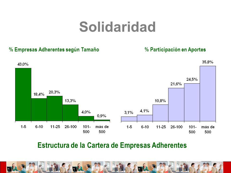 Estructura de la Cartera de Empresas Adherentes % Empresas Adherentes según Tamaño% Participación en Aportes Solidaridad