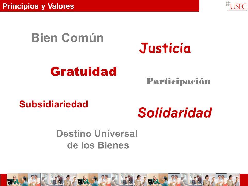 Principios y Valores Participación Subsidiariedad Solidaridad Gratuidad Bien Común Justicia Destino Universal de los Bienes