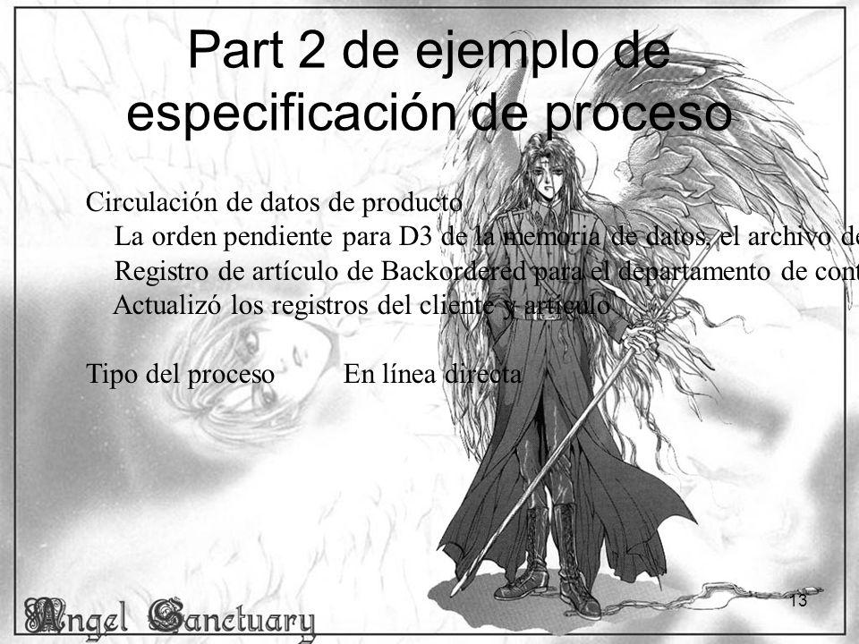 13 Part 2 de ejemplo de especificación de proceso Circulación de datos de producto La orden pendiente para D3 de la memoria de datos, el archivo de or