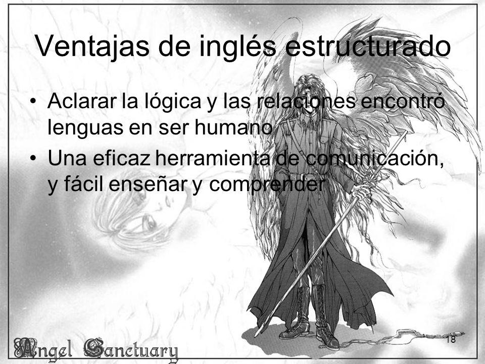 18 Ventajas de inglés estructurado Aclarar la lógica y las relaciones encontró lenguas en ser humano Una eficaz herramienta de comunicación, y fácil e