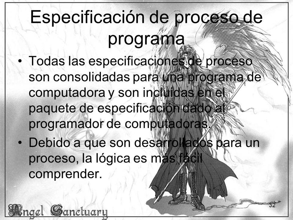 32 Especificación de proceso de programa Todas las especificaciones de proceso son consolidadas para una programa de computadora y son incluidas en el