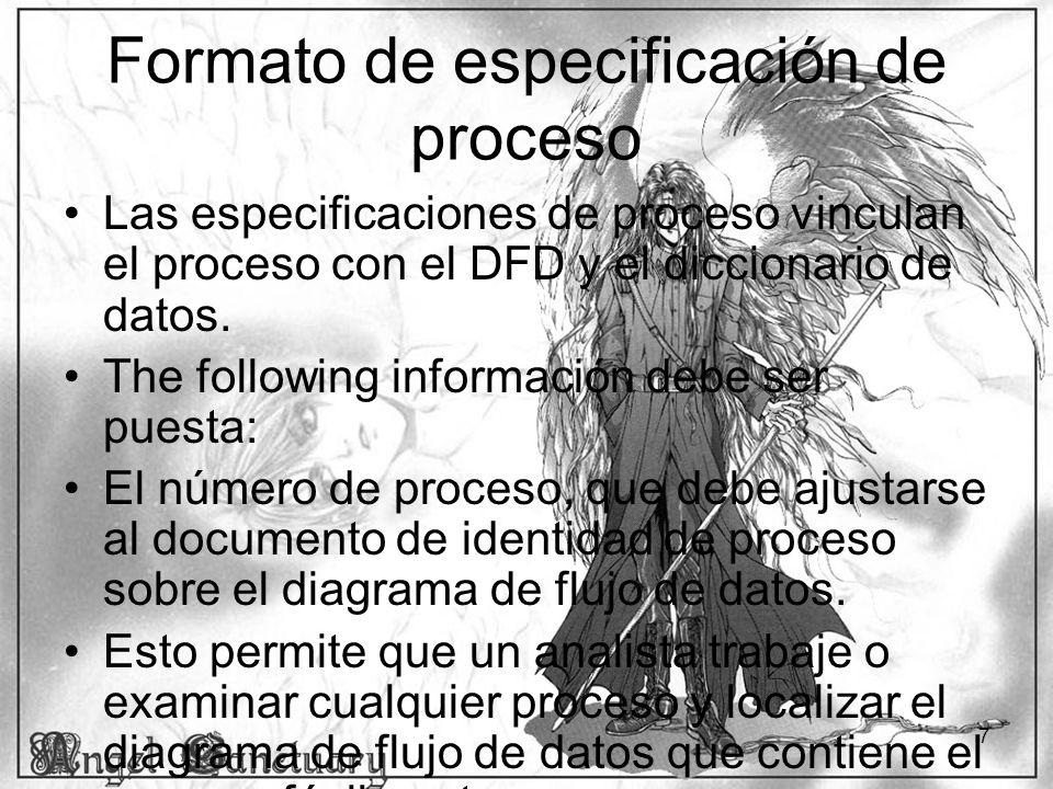 8 Formato de especificación de proceso (continuado) –El nombre de proceso, el same como visualizaciones dentro del símbolo de proceso sobre el DFD.